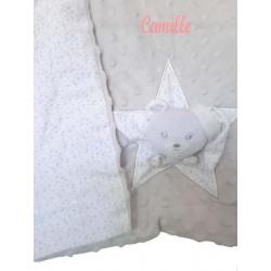 Couverture bébé Grise brodée avec tête ourson-detail