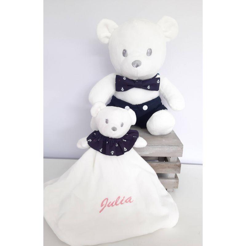 Doudou et ourson bébé personnalisé Marin