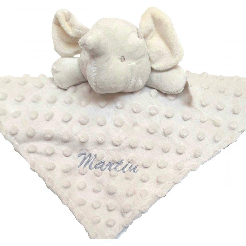 Doudou bébé éléphant personnalisé