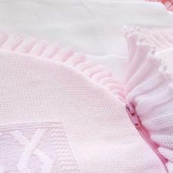 Nid d'ange tricot rose avec glissière-detail