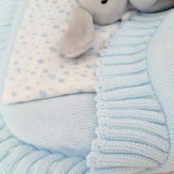 couverture naissance en tricot bébé garçon-detail