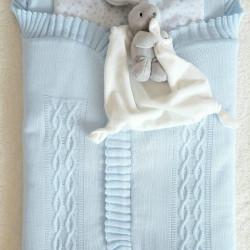 Nid d'ange naissance en tricot de couleur bleu-detail