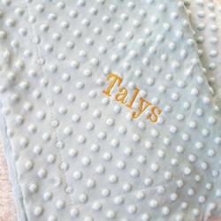 Plaid bébé personnalisé couleur vert d'eau-detail