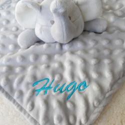 Doudou bébé éléphant minky personnalisable-detail
