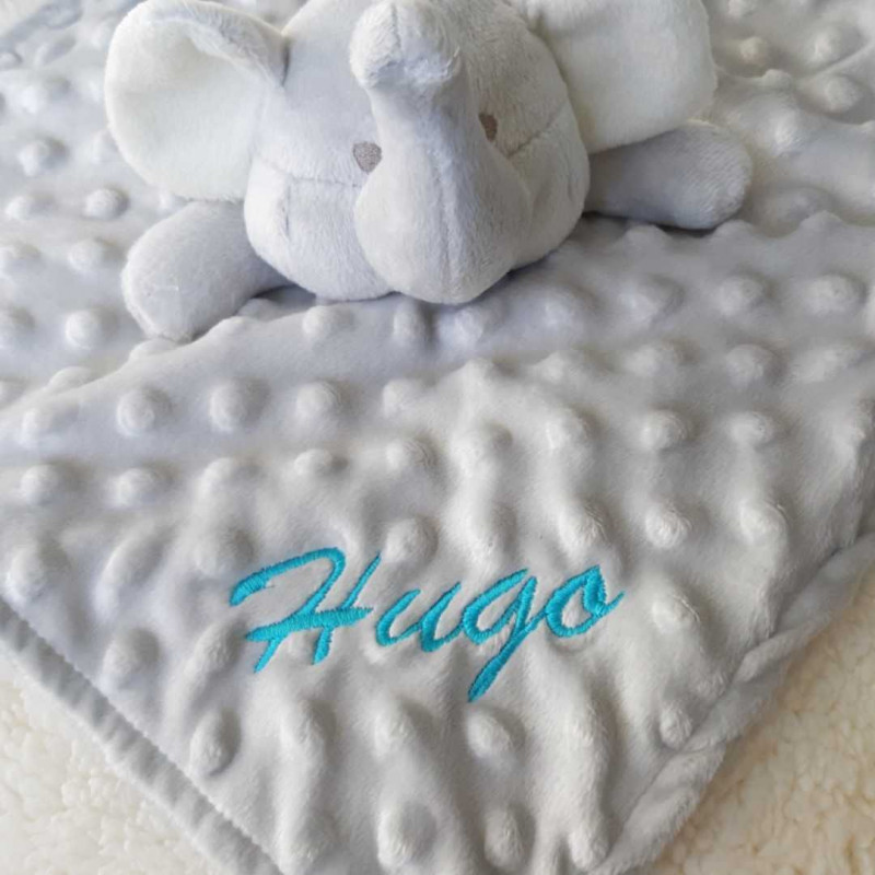 Doudou bébé éléphant minky personnalisable