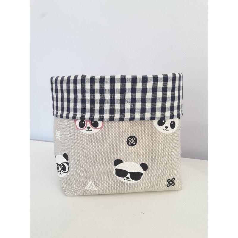 pochon de rangement fait main en lin imprimé panda