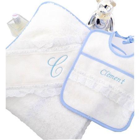 Cape de bain bébé bleu personnalisée